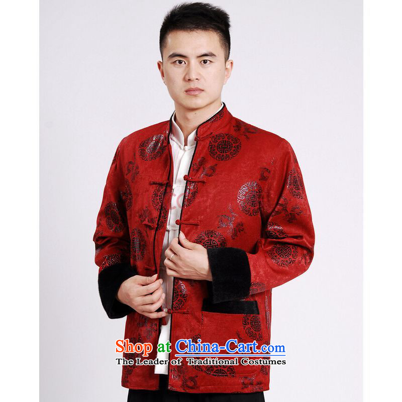 Shanghai, optimization options Tang Dynasty Men long-sleeved sweater Tang blouses men's jacket water Sable Hair Tang add cotton thick red L