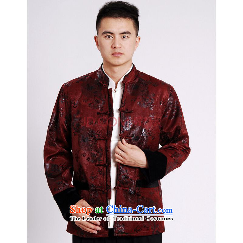 Shanghai, optimize ipo men's jacket water Sable Hair Tang Add Tang dynasty lint-free men long-sleeved sweater Chinese Dragon Tang blouses wine red�XL