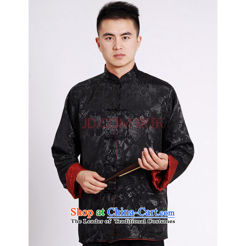 Shanghai, optimization options Tang Dynasty Men long-sleeved national costumes men Tang jackets collar double-sided Wearing Tang Dynasty damask Black + Red?M