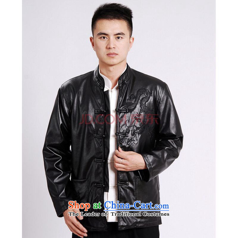 Shanghai, optimization options Tang Dynasty Men long-sleeved sweater Tang blouses men's leather jacket water Sable Hair Tang dynasty leather garments plus lint-free Black XL