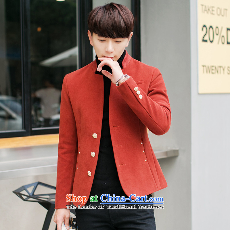?The Korean version of winter K328I short of Sau San Mock-neck? men Chinese tunic red jacket?2XL