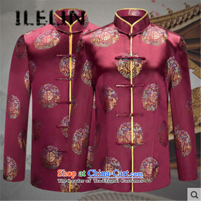 The fall of the new China ILELIN2015 wind load retro mother Tang father jackets Birthday Celebrated attired in the life of the elderly couple shirt and contemptuous of purple male聽XL