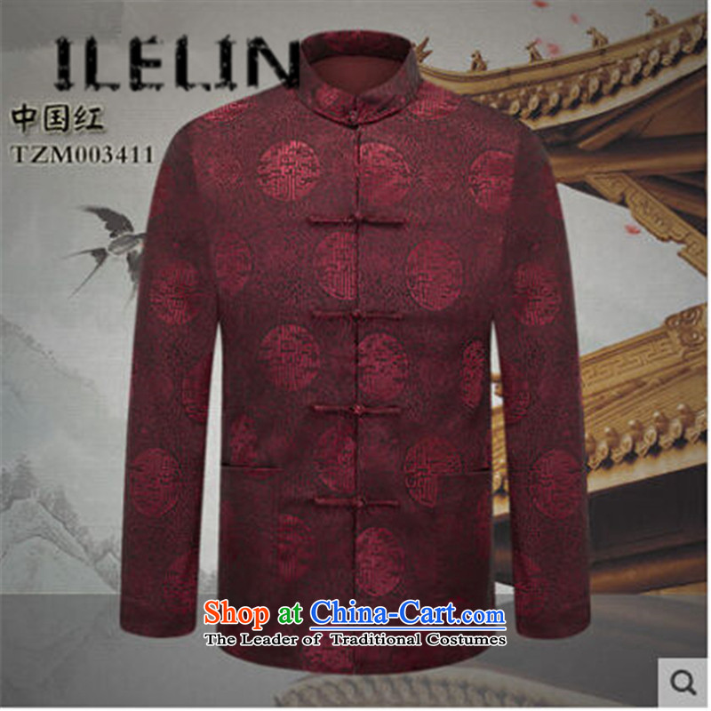 The fall of the new China ILELIN2015 wind men's father retro Tang jackets of older persons in the national costumes of Grandpa Chinese Dress Chinese Red聽185