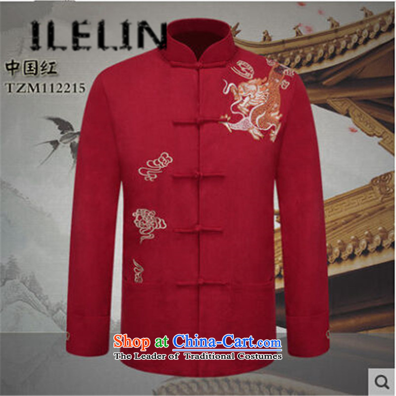 The fall of the new man ILELIN2015) Father China wind long-sleeved blouses grandpa load tang of older persons in the Chinese Antique Jacket Red 175