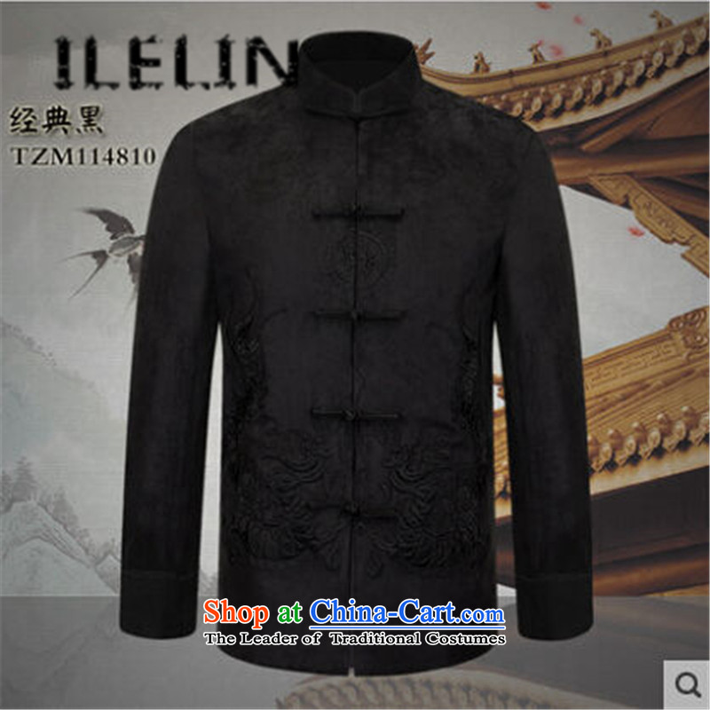 The fall of the new China ILELIN2015 wind men of older persons in the Tang Dynasty Men's Shirt father replacing Chinese China Wind Jacket Black�175