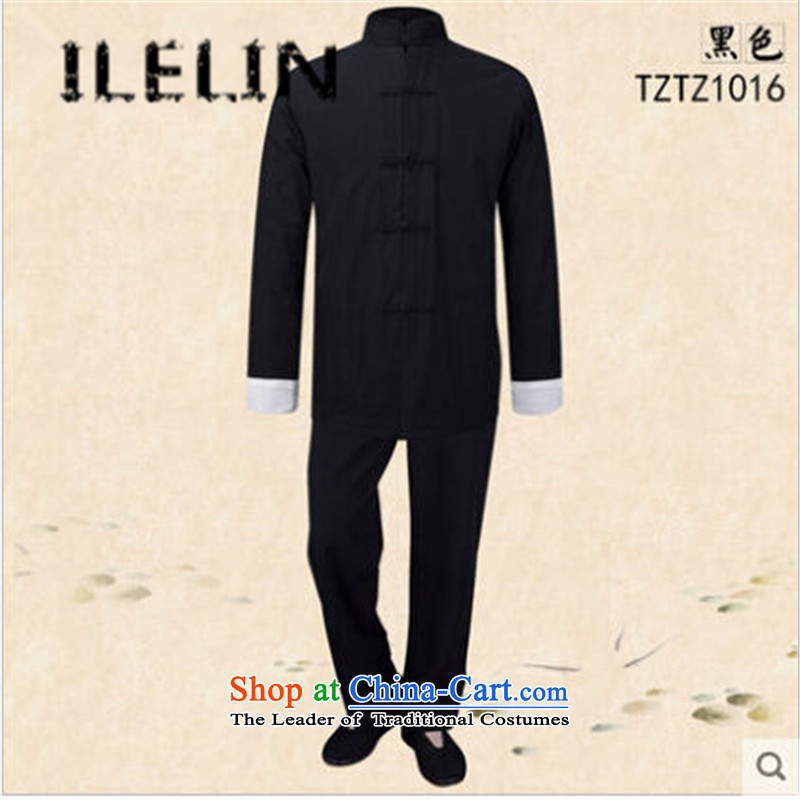The fall of the new retro ILELIN2015 China wind pure cotton old men Tang dynasty blacklead long-sleeved grandpa replacing the solid color kung fu kit two Black?XL