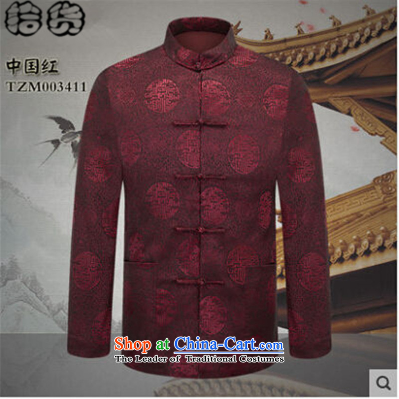 The 2015 autumn pick the new China wind middle-aged men's jackets father load Tang traditional tang of older persons in the jacket Tang Dynasty Chinese Red聽175