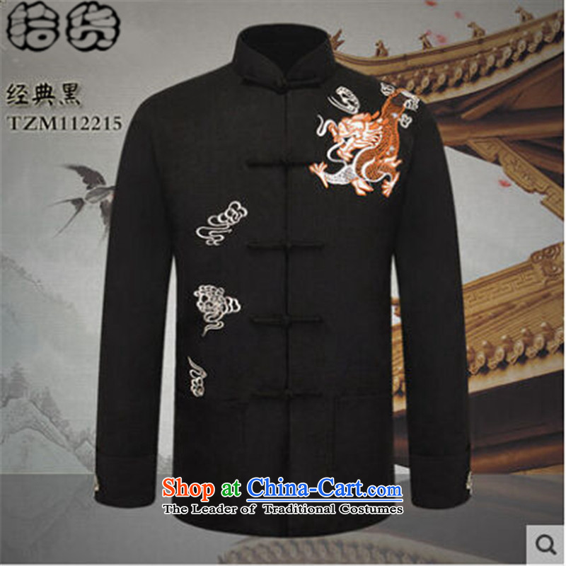 The 2015 autumn pick the new man in the jacket Tang long-sleeve sweater older Chinese men China wind dragon embroidery father blouses classic black聽180