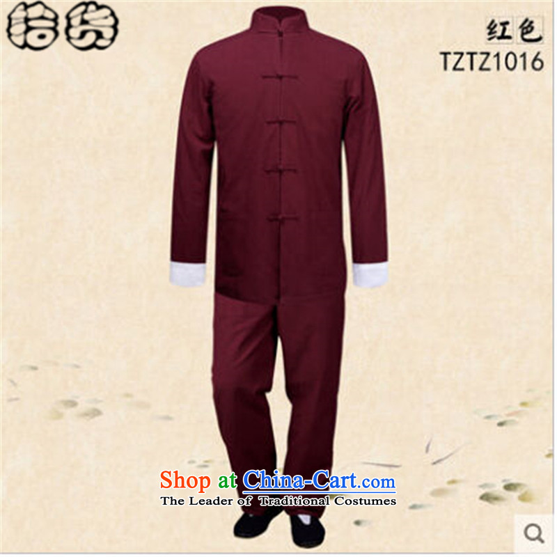The 2015 autumn pick the new China wind men old folk weave long-sleeved Tang Dynasty Package men's shirts larger Mock-Neck Shirt chinese ties disk pack red?L