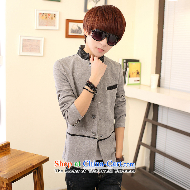 During the spring and autumn men sweater cardigan jacket young students Korean Solid Color collar leisure Chinese tunic gray�5 _black pre-sale_