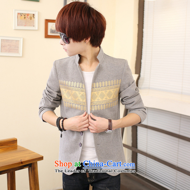 During the spring and autumn collar small suits the new Korean male adolescents Sau San Leisure Suit Jacket coat male gray聽170 Chinese tunic