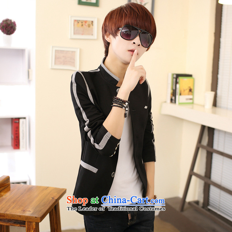 In spring and autumn 2015 New Chinese tunic Korean Men's Mock-Neck Sau San casual clothing Sau San Jacket coat Black?175