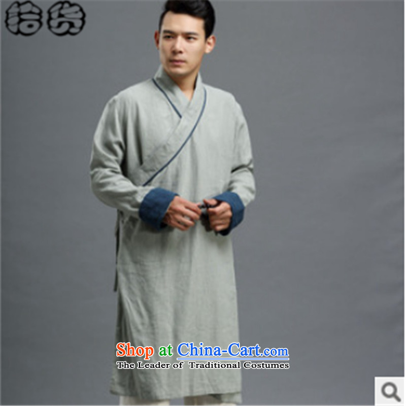 The 2015 autumn pick new cotton linen men need long-sleeved chancing long strap retreat serving Chinese Han-tea uniforms jacket coat gray?XL