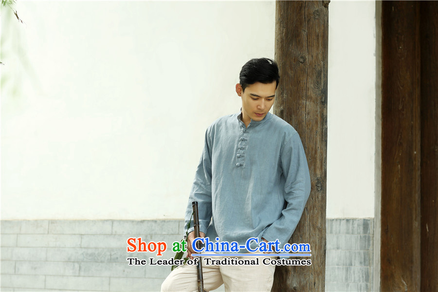 The 2015 autumn pick the new China wind leisure men Chinese men code pullovers cotton linen collar Chinese Disc detained men long-sleeved T-shirt light blue L picture, prices, brand platters! The elections are supplied in the national character of distribution, so action, buy now enjoy more preferential! As soon as possible.