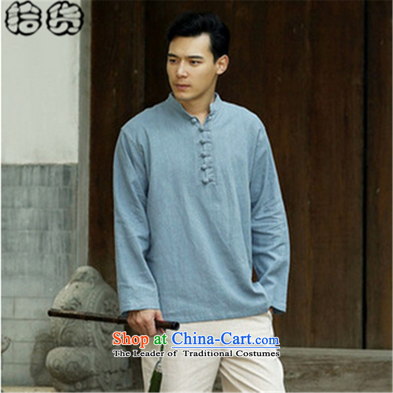 The 2015 autumn pick the new China wind leisure men Chinese men code pullovers cotton linen collar Chinese Disc detained men long-sleeved T-shirt light blue?L