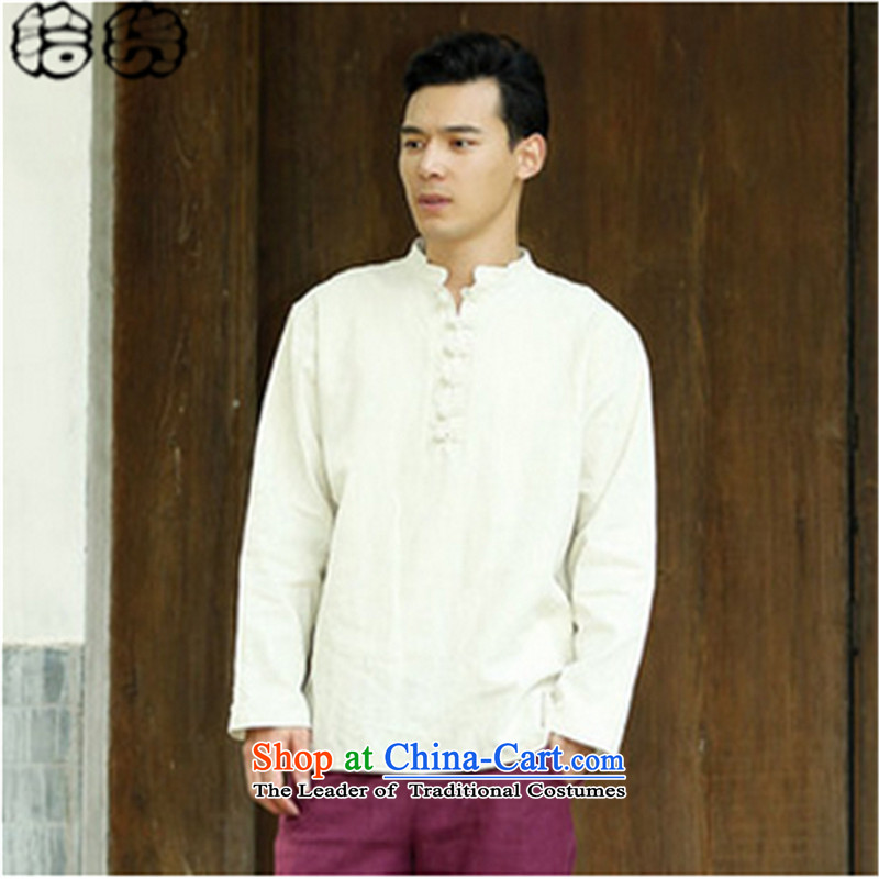 The 2015 autumn pick the new China wind leisure men Chinese men code pullovers cotton linen collar Chinese Disc detained men long-sleeved T-shirt , light blue pickup (shihuo) , , , shopping on the Internet