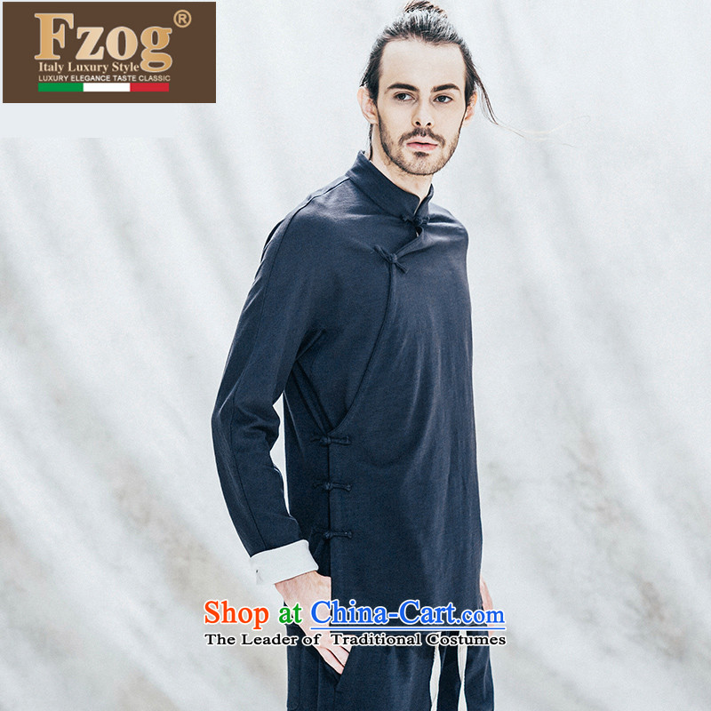 Phaedo of FZOG_ national costumes three-dimensional construction Pure Cotton Men China wind among young men from the Tang dynasty long-sleeved black hot聽L