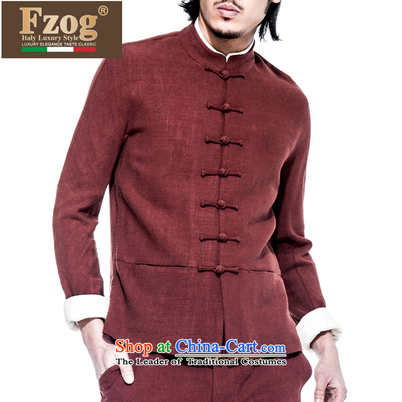 Phaedo of FZOG_ national costumes China wind up the clip cotton linen men washable pure color leisure long-sleeved Tang Dynasty Male Red聽XL