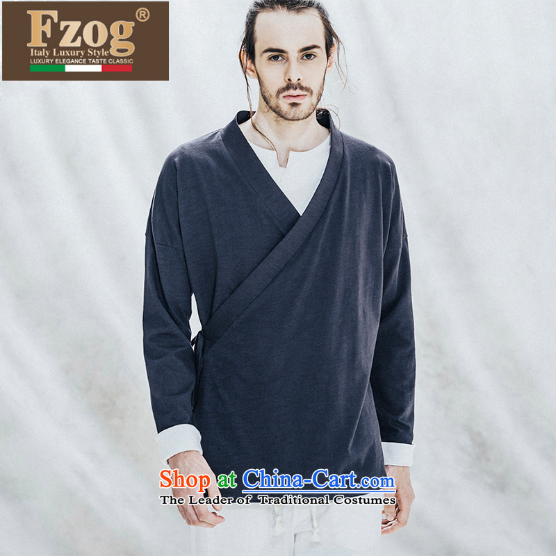 Phaedo of China FZOG_ wind elegance temperament Asymmetrical lacing men pure cotton youth Long-sleeve Tang Dynasty navy聽S