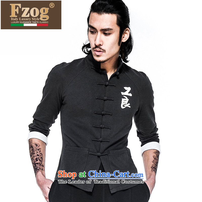 Phaedo of FZOG/ men's national costumes geometry stamp men's comfortable cotton linen collar long-sleeved black Tang Dynasty Recreation?S