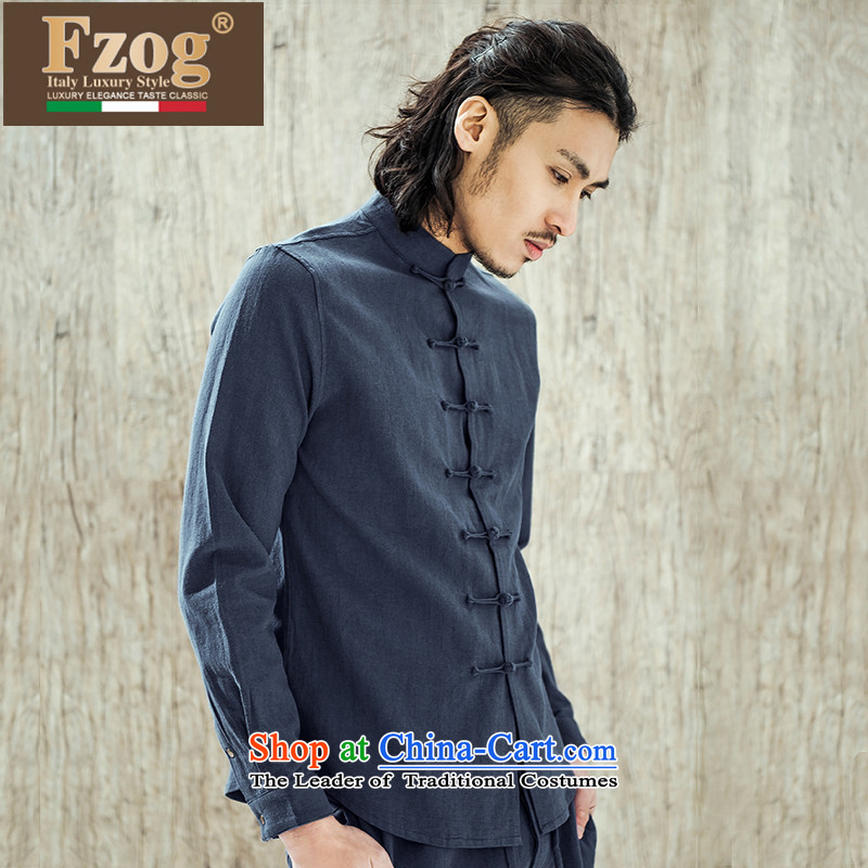 Phaedo grid comfortable FZOG/ soft cotton linen long-sleeved men China wind solid color leisure men's Sau San Tong blue?S