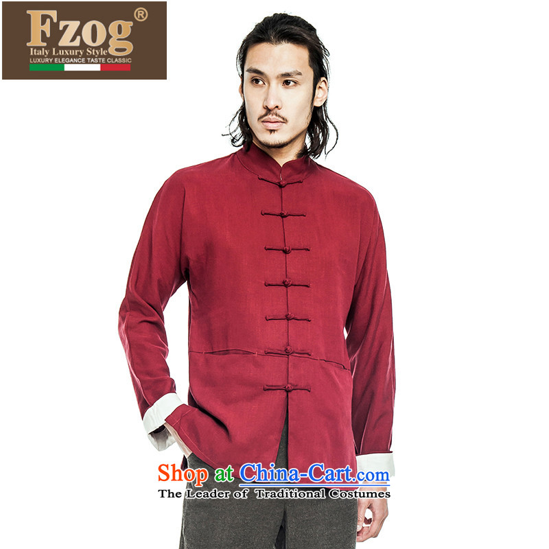 Phaedo of China FZOG_ wind up three-dimensional construction detained Men's Mock-Neck national costumes pure color long-sleeved Tang Red聽L
