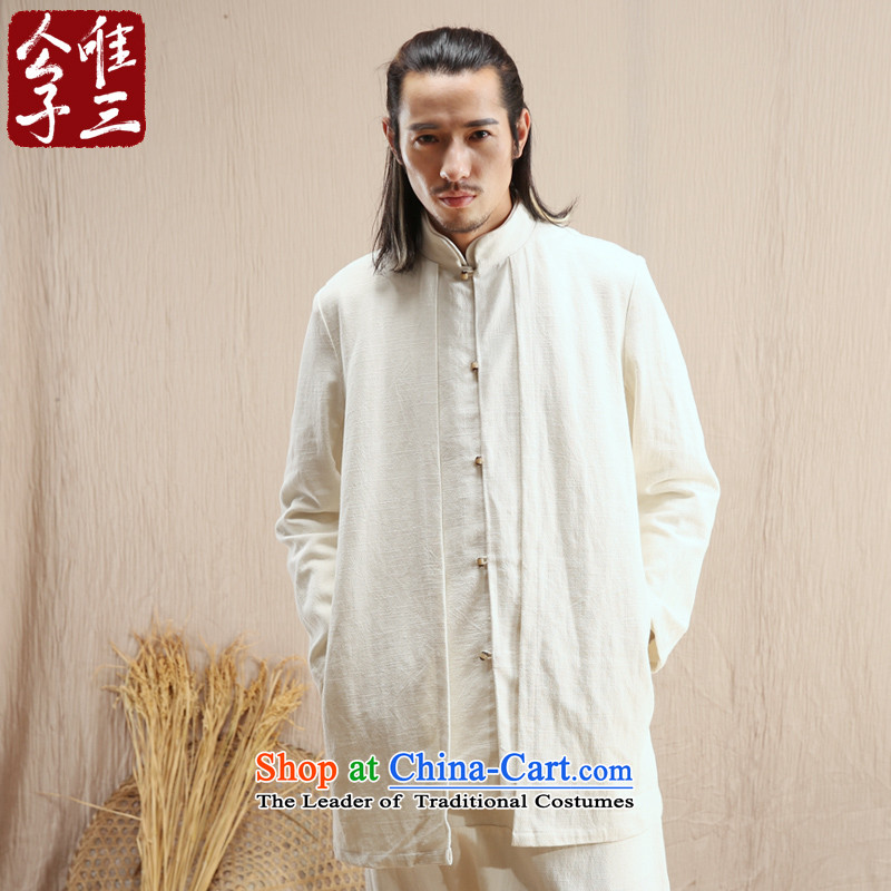 Cd 3 model compare China wind linen male Han Chinese jacket leisure Tang Ma load ethnic Han-windbreaker autumn rice white?185/100A(XXL)