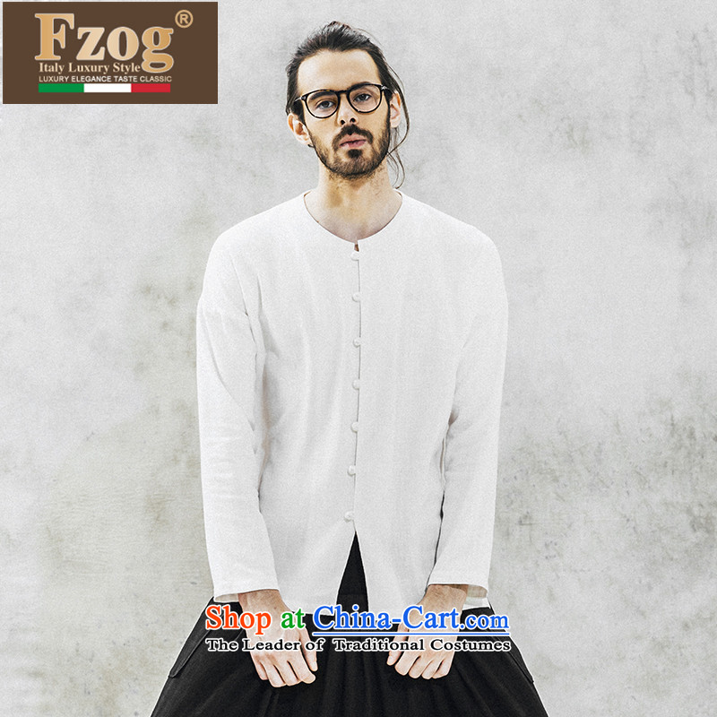 Phaedo of China FZOG_ wind stereo disc detained men's solid color without collars relaxd elegance long-sleeved temperament Tang dynasty white聽M
