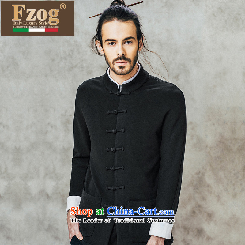 Phaedo grid comfortable FZOG_ pure cotton long-sleeved men China wind stereo disc detained pure color Long-sleeve Tang-pack Black聽L
