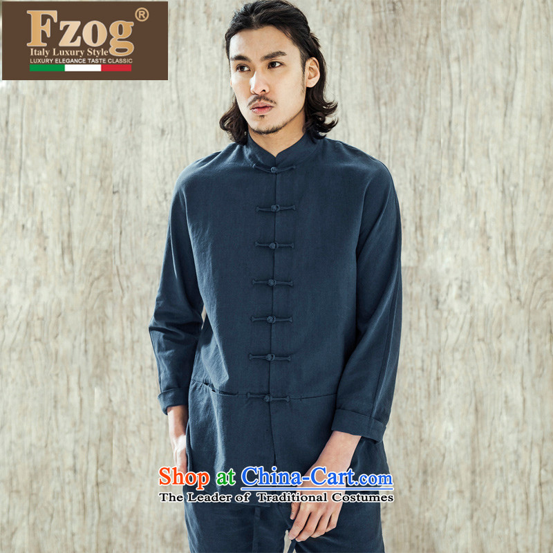 Phaedo of China FZOG/ wind stereo disc detained men embroidered icon solid color cotton linen collar Sau San Tong long-sleeved blue?S