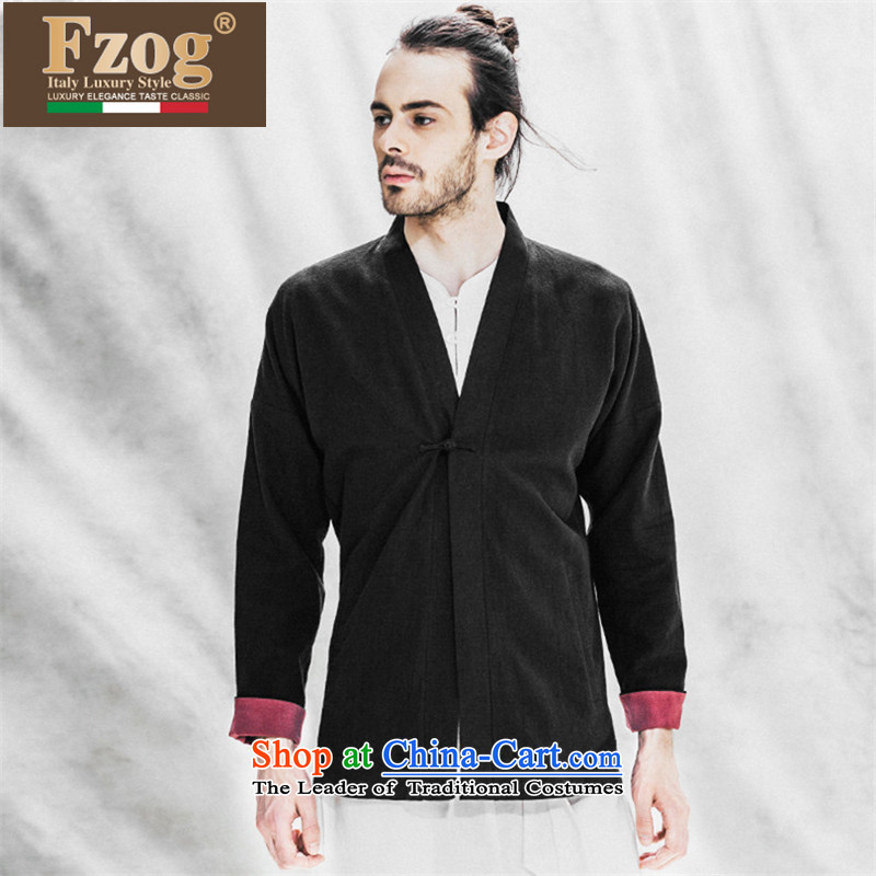 Phaedo Grid Tang FZOG/ load tray clip cotton linen stereo comfortable China wind solid color loose Long-sleeve Cardigan black?S