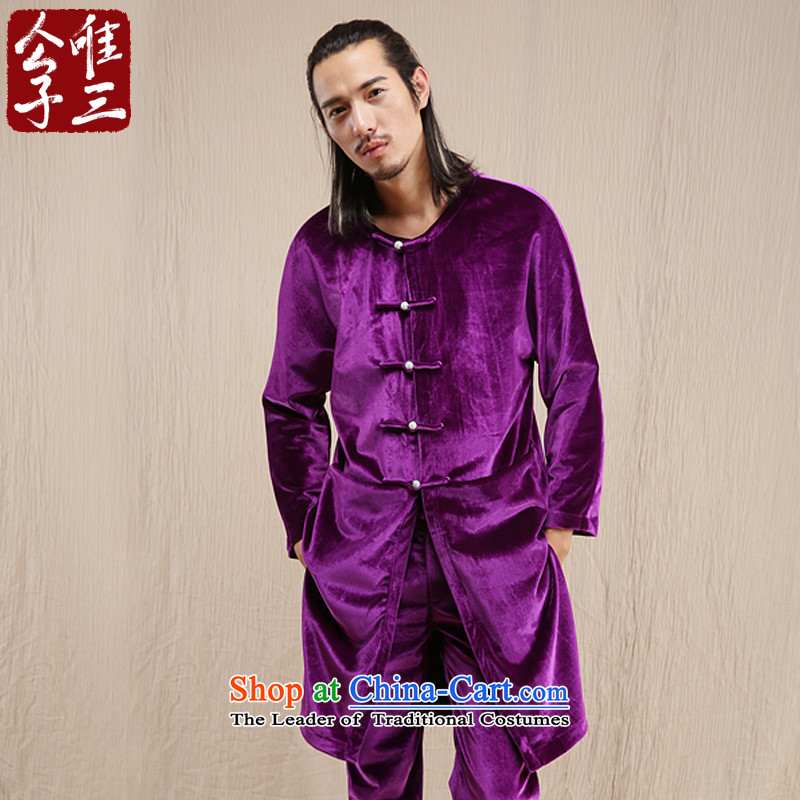Cd 3 Model Kam Yi China wind linen male scouring pads Chinese jacket leisure Tang dynasty ethnic Han-yi Chau purple聽175_92A_L_ wind