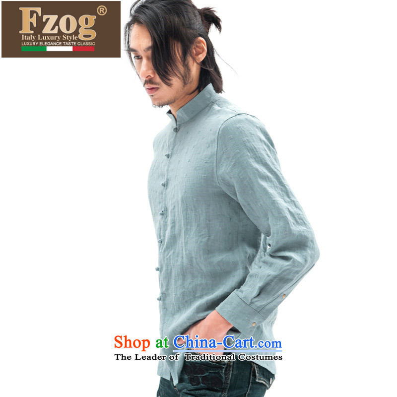 Phaedo of FZOG/ autumn and winter, China wind Men's Shirt jacquard collar youth men's long-sleeved Tang Dynasty Blue Linen?S