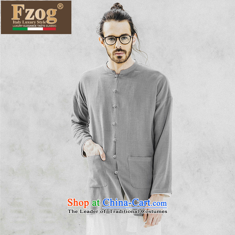 Phaedo of FZOG/ national costumes pure color loose men Cardigan China wind collar Young Man Tang dynasty long-sleeved gray?S