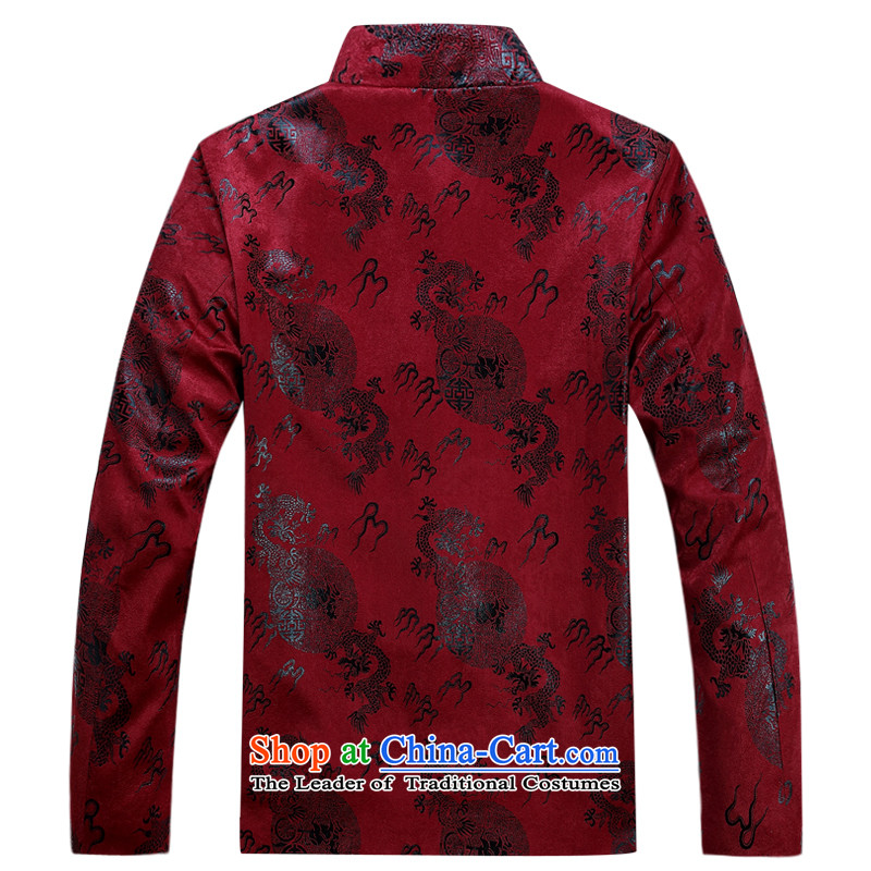 Tang Dynasty men during the spring and autumn jacket plain manual coin retro jacket men wedding banquet birthday attired in elderly Men's Mock-Neck Chinese national dress jacket deep red聽180,JACK EVIS,,, shopping on the Internet