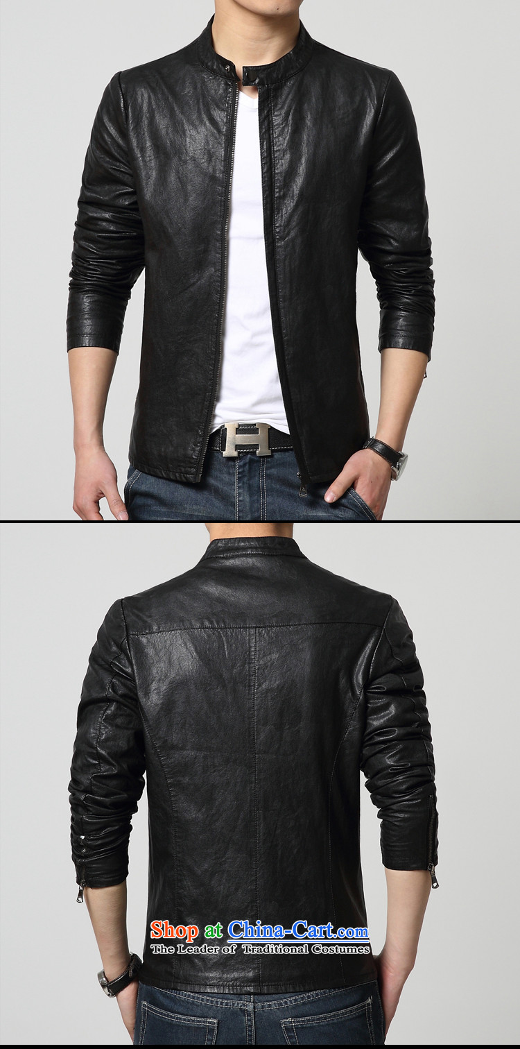 Cayman Jos AD 2015 New Tang Dynasty Chinese tunic in summer and autumn, Men's Mock-Neck PU leather jacket coat Sau San leather jacket casual male black聽M picture, prices, brand platters! The elections are supplied in the national character of distribution, so action, buy now enjoy more preferential! As soon as possible.