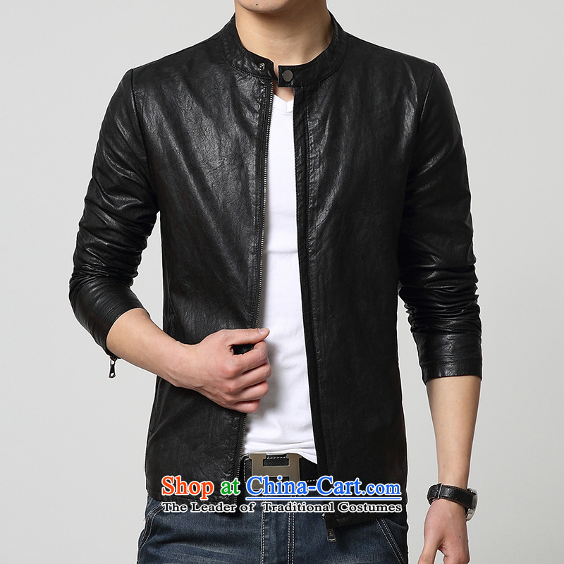 Cayman Jos AD 2015 New Tang Dynasty Chinese tunic in summer and autumn, Men's Mock-Neck PU leather jacket coat Sau San leather jacket casual male black?M
