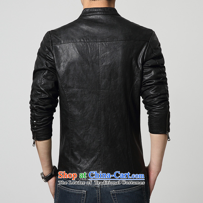 Cayman Jos AD 2015 New Tang Dynasty Chinese tunic in summer and autumn, Men's Mock-Neck PU leather jacket coat Sau San leather jacket casual male black聽M Cayman Jos ad , , , shopping on the Internet