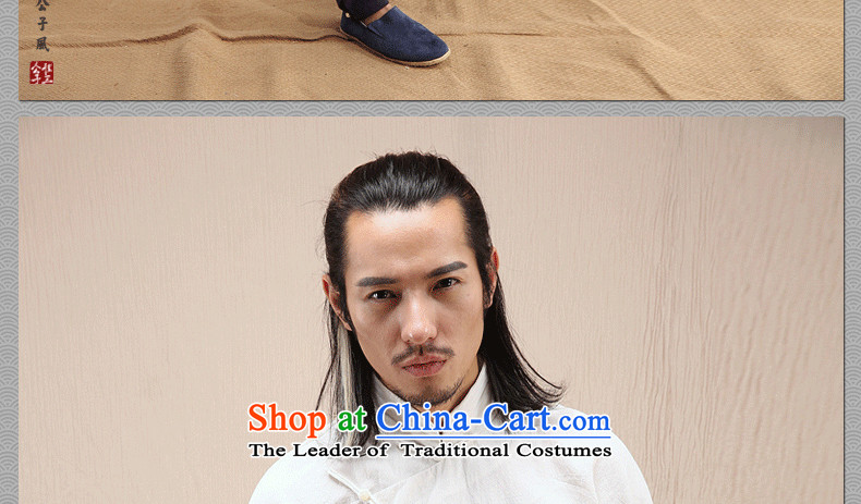 Cd 3 Model Hak Beep China wind linen Men's Mock-Neck Shirt Chinese long-sleeved shirt with tie-Tang Dynasty Recreation Choo Ma natural聽picture, prices, 185/100A(XXL) brand platters! The elections are supplied in the national character of distribution, so action, buy now enjoy more preferential! As soon as possible.