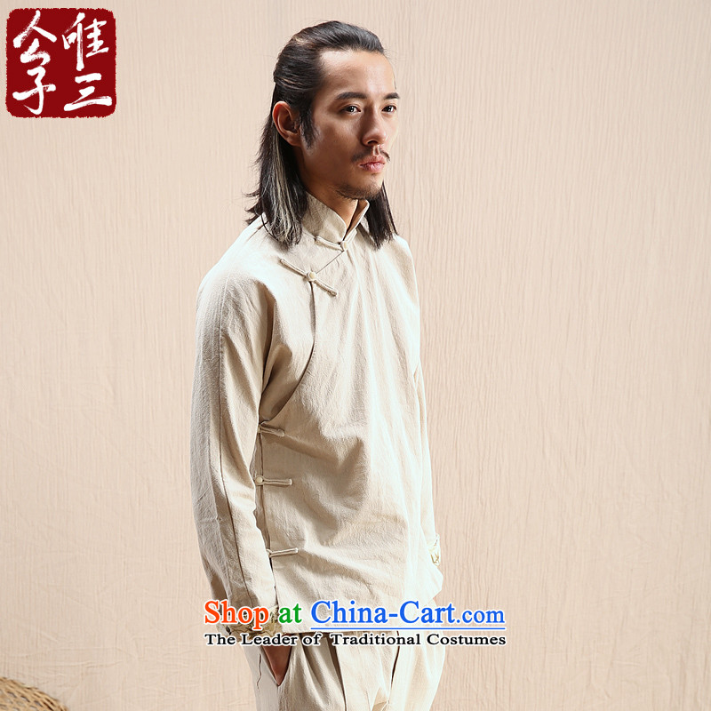 Cd 3 Model Hak Beep China wind linen Men's Mock-Neck Shirt Chinese long-sleeved shirt with tie-Tang Dynasty Recreation Choo Ma natural 185_100A_XXL_