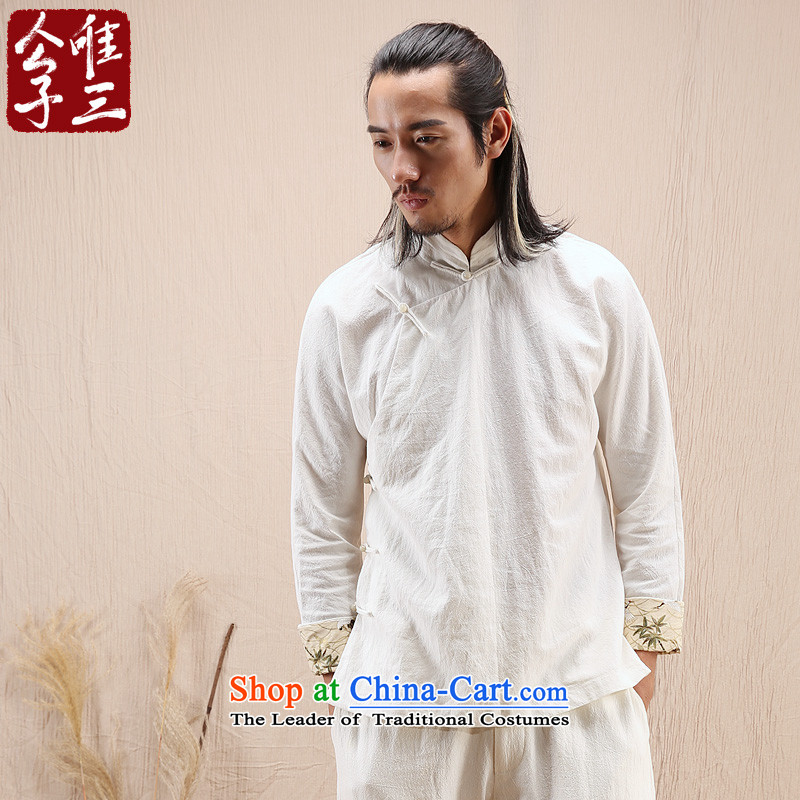 Cd 3 Model Hak Beep China wind linen Men's Mock-Neck Shirt Chinese long-sleeved shirt with tie-Tang Dynasty Recreation Choo聽185/100A(XXL), natural CD 3 Ma , , , shopping on the Internet