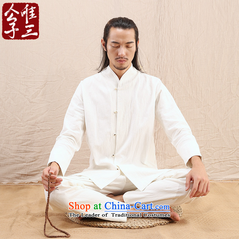Cd 3 model bodhi enlightenment China wind linen Men's Mock-Neck Shirt Chinese shirt leisure Tang Dynasty Han-autumn and winter new rice white聽175_92A_L_