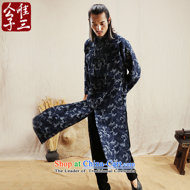 Cd 3 model hesitation China wind Tang Dynasty Recreation and camouflage cowboy windbreaker Chinese ethnic Han-jacket for autumn and winter?185/100A(XXL) blue