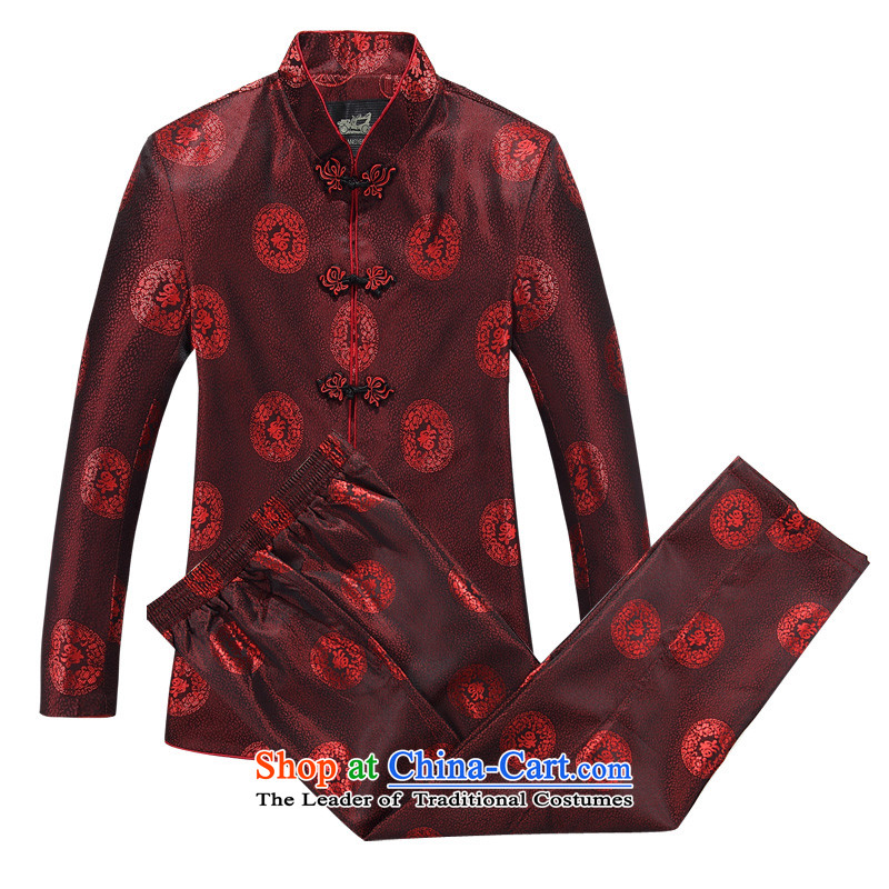 The autumn and winter new Fu Lu Shou Men long-sleeved Tang Dynasty Package Mock-neck Chinese tunic older tapes Taegeuk service kit red L
