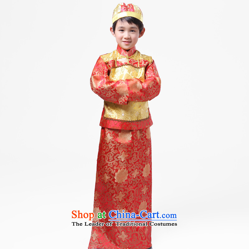 The Syrian men and children in the Qing Dynasty, time costume will affect photography Stage Costume assemble the Baylor landowners Miss Shao Ye Zhan of Bosnia and red 130CM