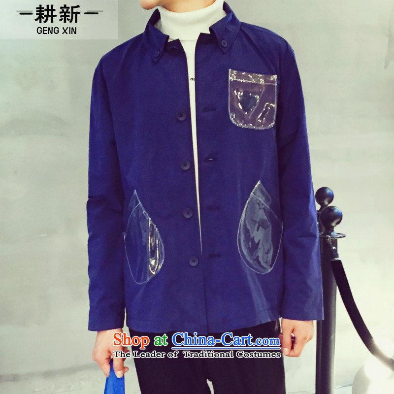 The new 2015 fall tillage Korean men cotton wash Chinese tunic transparent pocket solid color jacket and blue?L