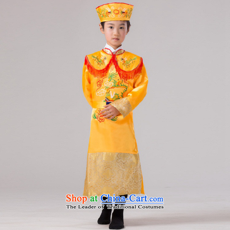 The Syrian children ancient time costumes of the Tang Dynasty emperors costume boy wearing yellow with little dragons robe Prince Edward costumes and pale yellow 150CM
