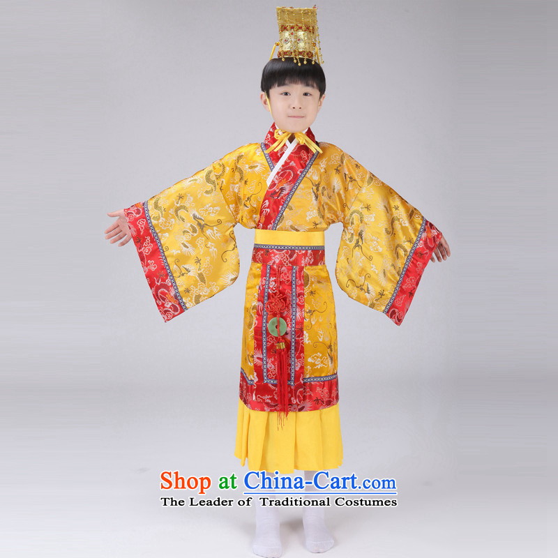 The Syrian children Han-time catching boy costume Will Tang Long Tang Dynasty Prince Edward King costumes and theatrical performances with yellow?150CM