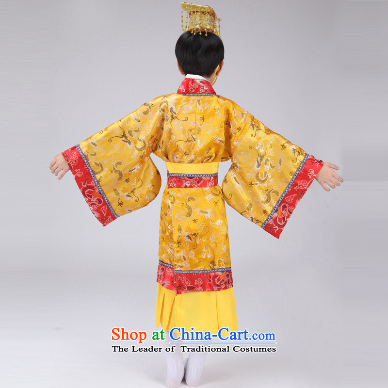 The Syrian children Han-time catching boy costume Will Tang Long Tang Dynasty Prince Edward King costumes and theatrical performances with yellow 150CM, time Syrian shopping on the Internet has been pressed.