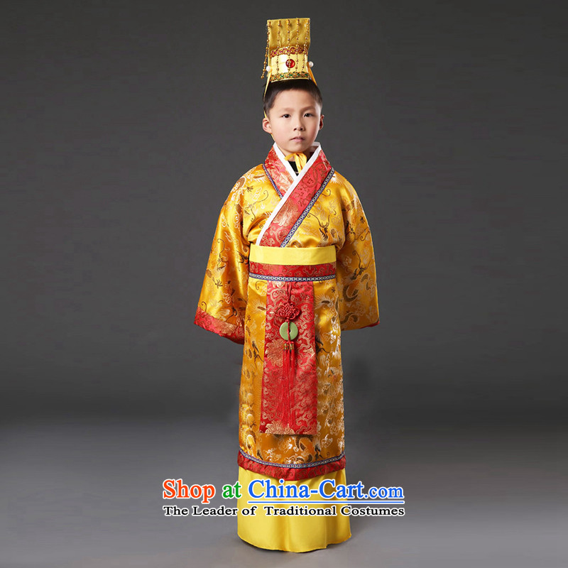 The Han dynasty emperor time Syrian Tang clothing fashions Prince Edward small Tzu Lung robe child costume will Han-floor male costume orange 150CM